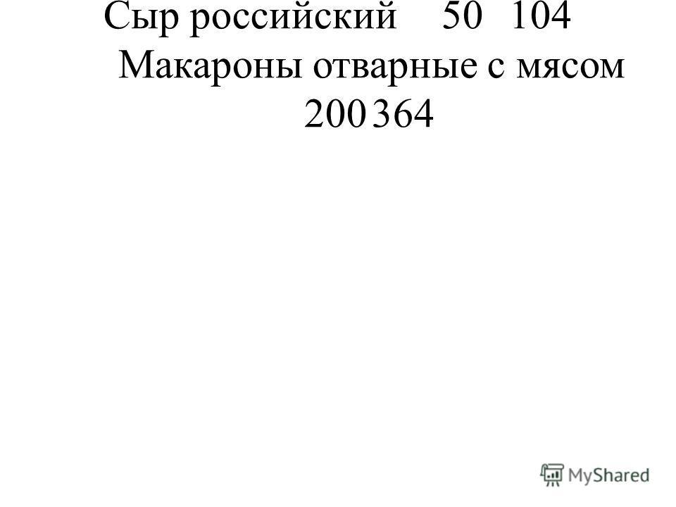 Сыр российский50104 Макароны отварные с мясом 200364