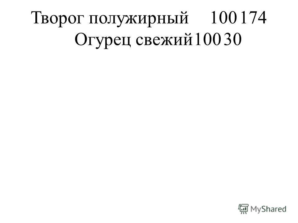 Творог полужирный100174 Огурец свежий10030