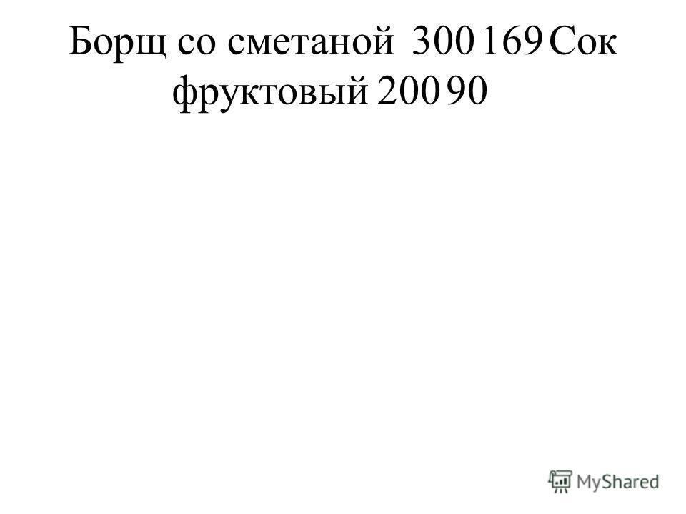 Борщ со сметаной300169Сок фруктовый20090