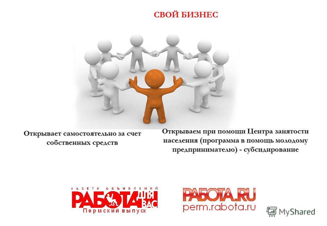 СВОЙ БИЗНЕС Открывает самостоятельно за счет собственных средств Открываем при помощи Центра занятости населения (программа в помощь молодому предпринимателю) - субсидирование