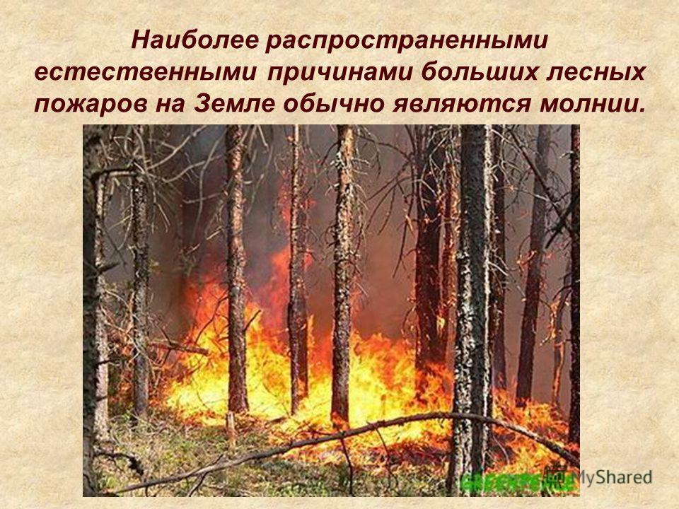 Наиболее распространенными естественными причинами больших лесных пожаров на Земле обычно являются молнии.