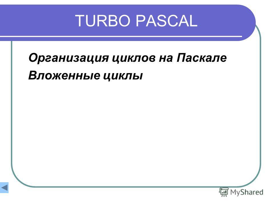 TURBO PASCAL Организация циклов на Паскале Вложенные циклы