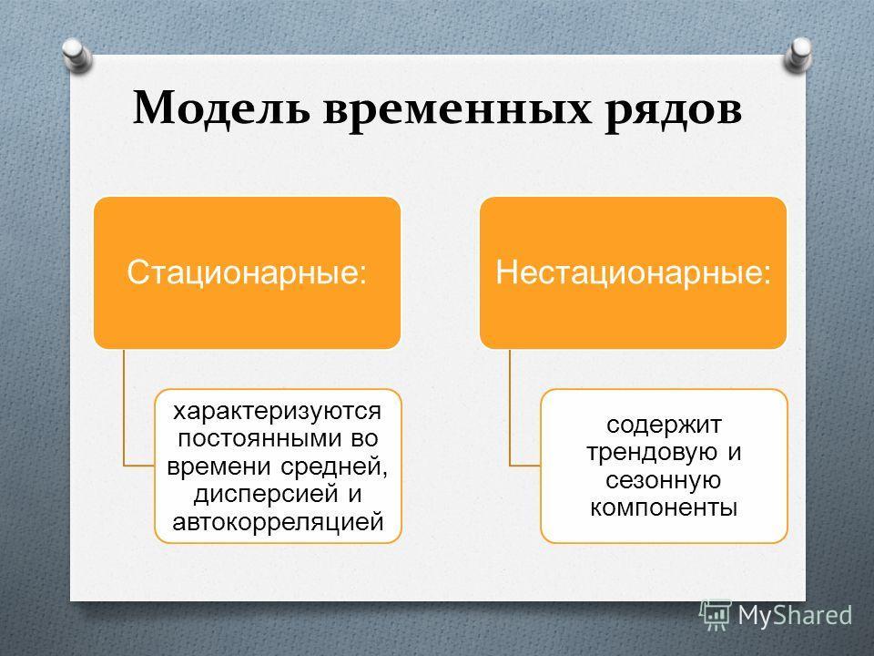 Стационарные: характеризуются постоянными во времени средней, дисперсией и автокорреляцией Нестационарные: содержит трендовую и сезонную компоненты Модель временных рядов