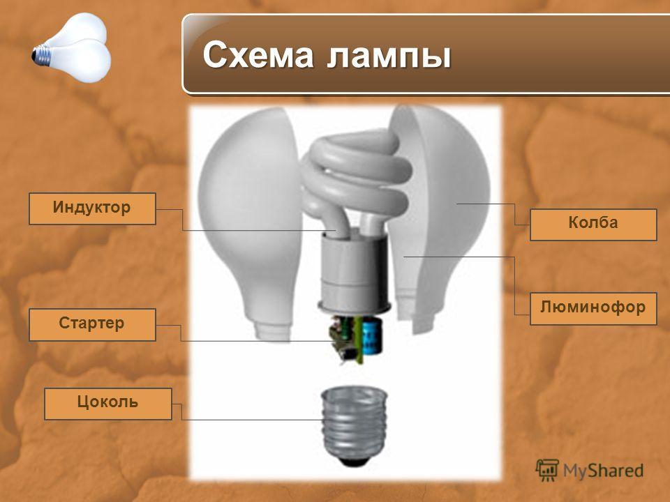 Цоколь Стартер Колба Индуктор Люминофор Схема лампы Схема лампы