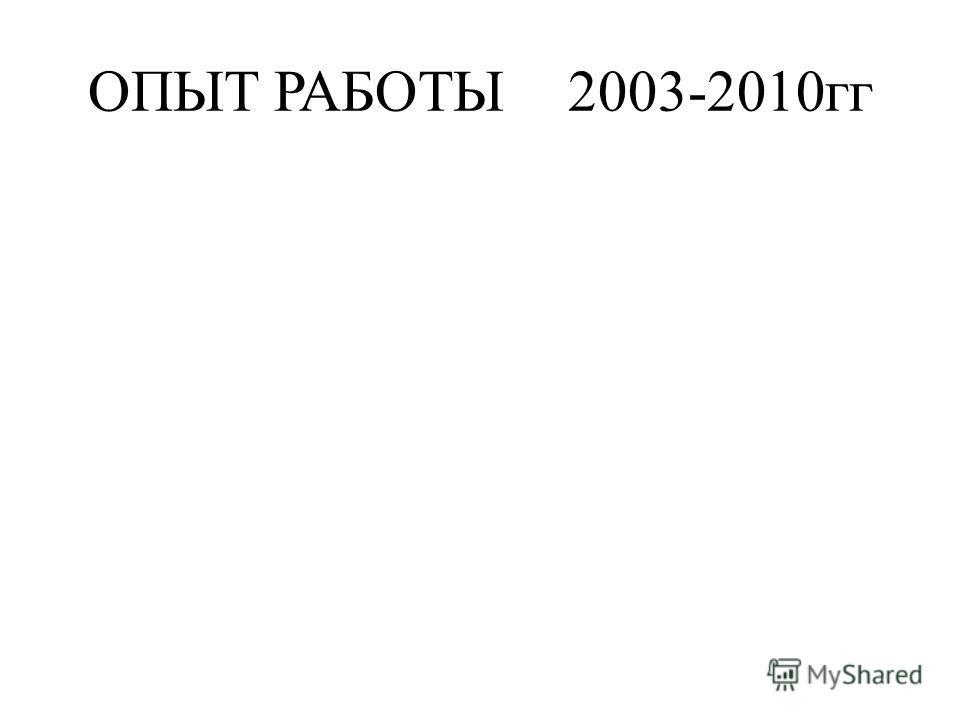ОПЫТ РАБОТЫ2003-2010гг