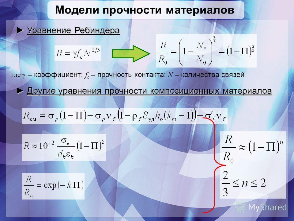 Модели прочности материалов где γ – коэффициент; f c – прочность контакта; N – количества связей Уравнение Ребиндера Уравнение Ребиндера Другие уравнения прочности композиционных материалов Другие уравнения прочности композиционных материалов