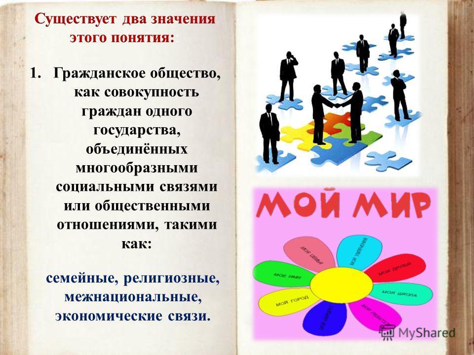 1.Гражданское общество, как совокупность граждан одного государства, объединённых многообразными социальными связями или общественными отношениями, такими как: семейные, религиозные, межнациональные, экономические связи.