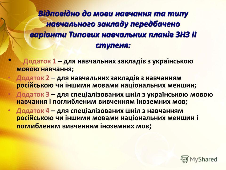 Відповідно до мови навчання та типу навчального закладу передбачено варіанти Типових навчальних планів ЗНЗ ІІ ступеня: Додаток 1 – для навчальних закладів з українською мовою навчання; Додаток 2 – для навчальних закладів з навчанням російською чи інш