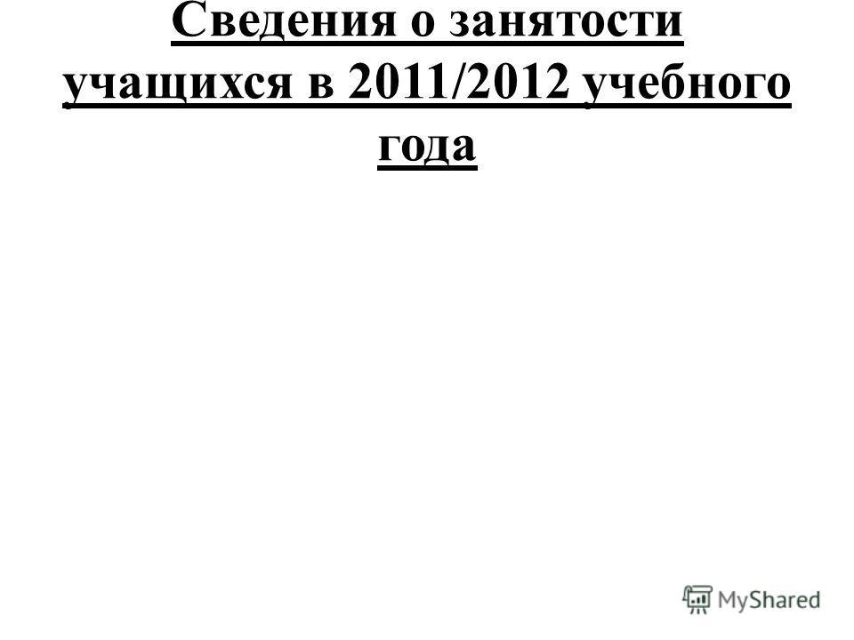 Сведения о занятости учащихся в 2011/2012 учебного года