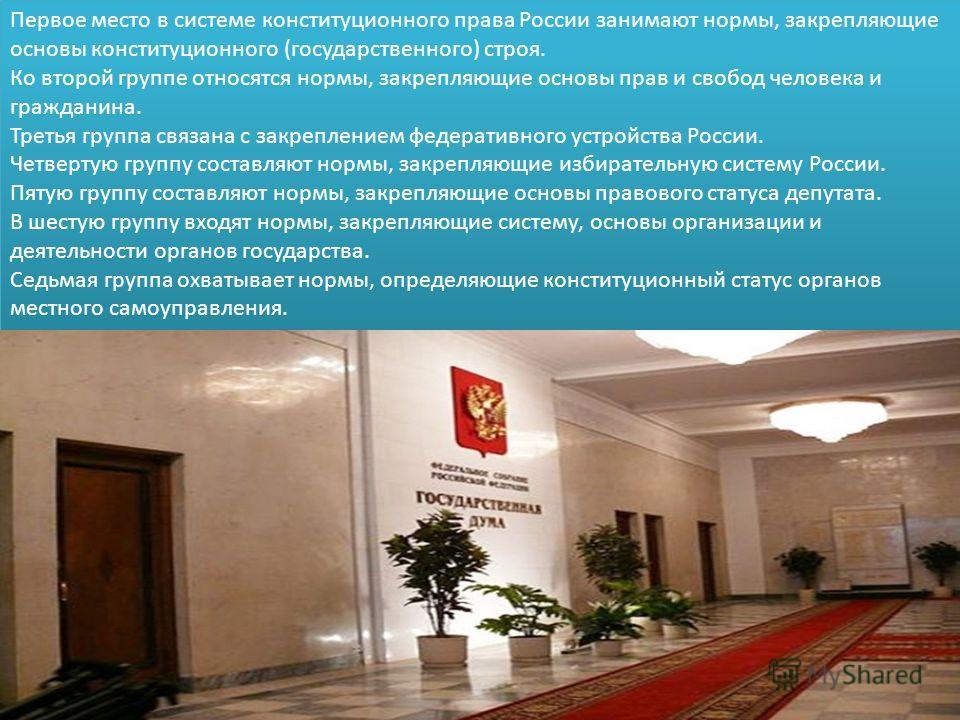 Первое место в системе конституционного права России занимают нормы, закрепляющие основы конституционного (государственного) строя. Ко второй группе относятся нормы, закрепляющие основы прав и свобод человека и гражданина. Третья группа связана с зак
