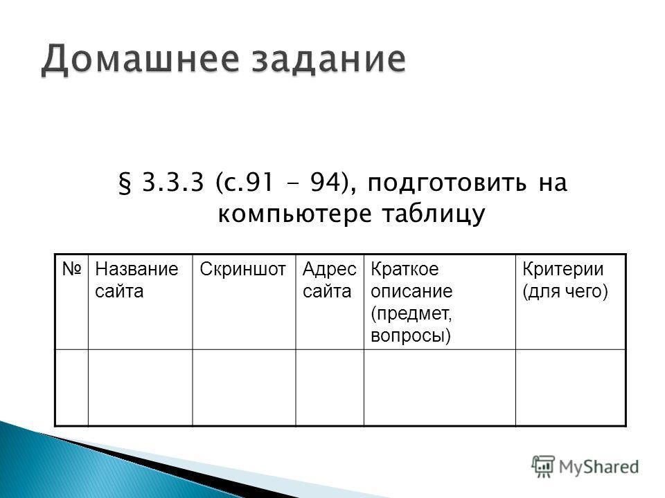 § 3.3.3 (с.91 - 94), подготовить на компьютере таблицу Название сайта СкриншотАдрес сайта Краткое описание (предмет, вопросы) Критерии (для чего)