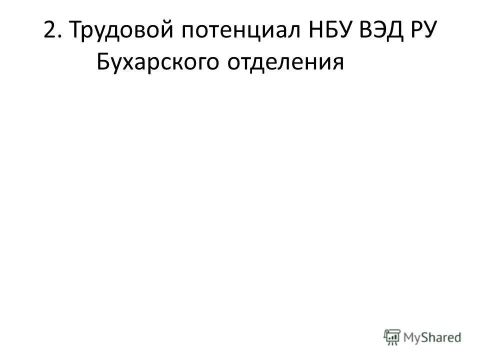 2. Трудовой потенциал НБУ ВЭД РУ Бухарского отделения