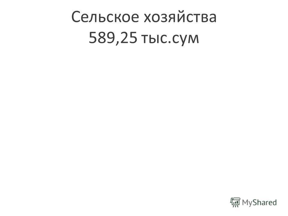 Сельское хозяйства 589,25 тыс.сум