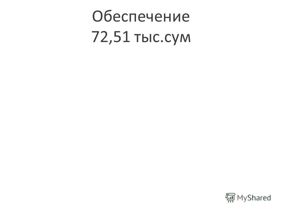 Обеспечение 72,51 тыс.сум