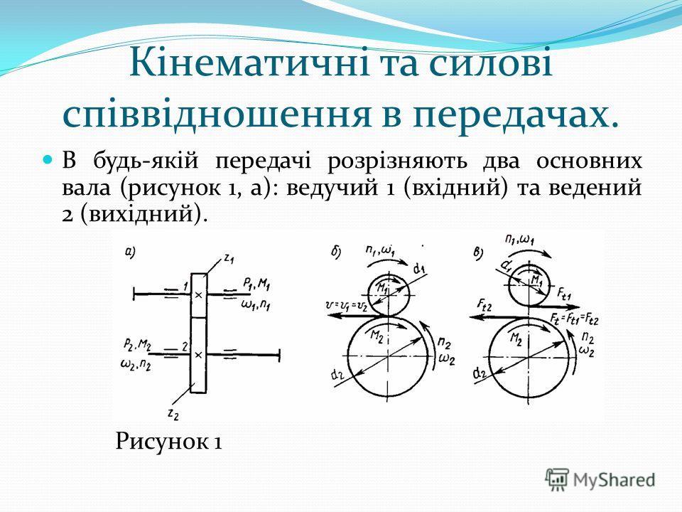 Кінематичні та силові співвідношення в передачах. В будь-якій передачі розрізняють два основних вала (рисунок 1, а): ведучий 1 (вхідний) та ведений 2 (вихідний). Рисунок 1
