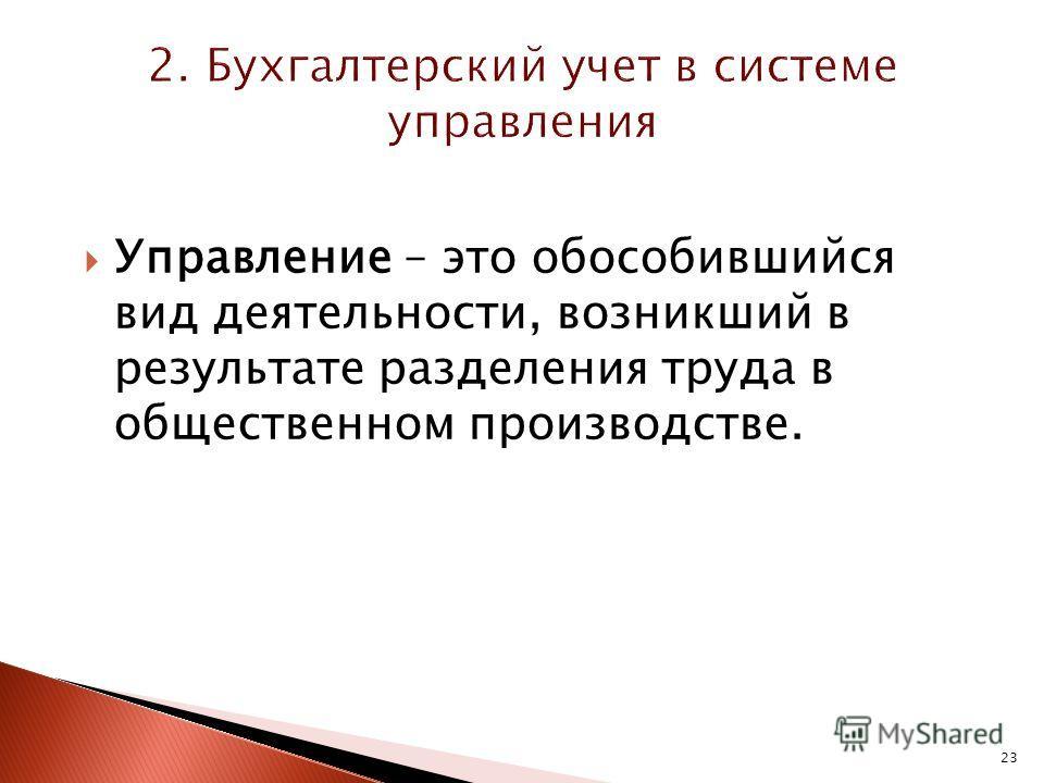 23 Управление – это обособившийся вид деятельности, возникший в результате разделения труда в общественном производстве.