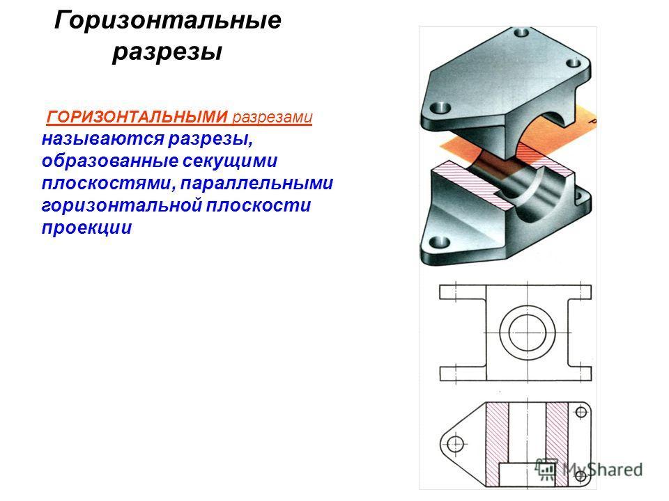Горизонтальные разрезы ГОРИЗОНТАЛЬНЫМИ разрезами называются разрезы, образованные секущими плоскостями, параллельными горизонтальной плоскости проекции