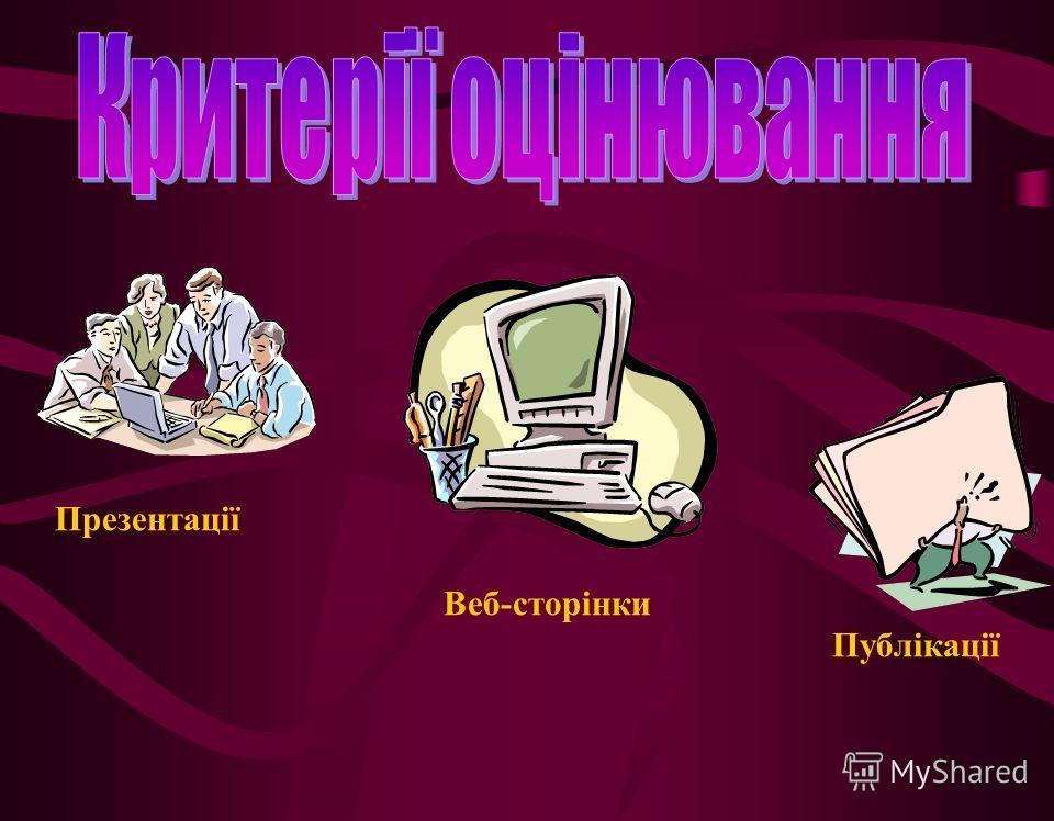 Презентації Веб-сторінки Публікації