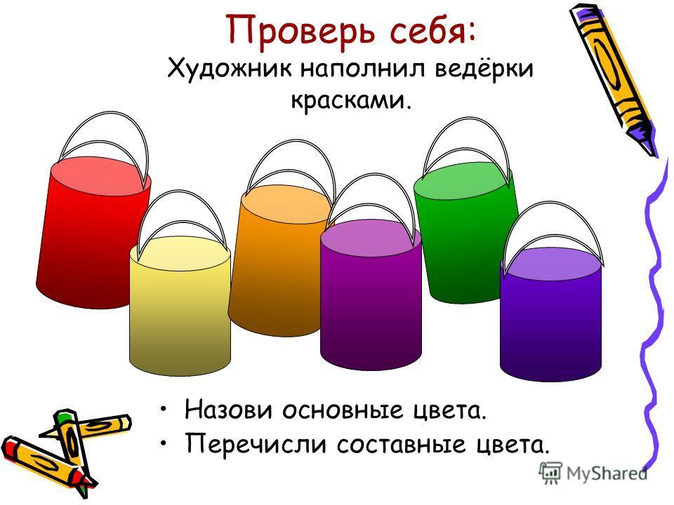 Проверь себя: Художник наполнил ведёрки красками. Назови основные цвета. Перечисли составные цвета.