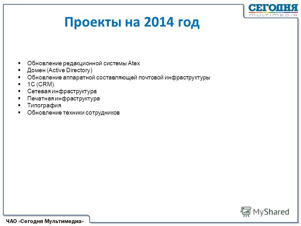 Проекты на 2014 год Обновление редакционной системы Аteх Домен (Active Directory) Обновление аппаратной составляющей почтовой инфраструктуры 1С (CRM) Сетевая инфраструктура Печатная инфраструктура Типография Обновление техники сотрудников