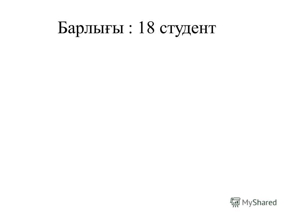 Барлығы : 18 студент