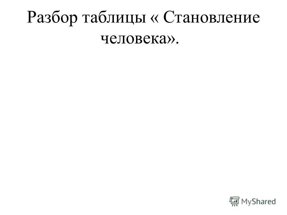 Разбор таблицы « Становление человека».