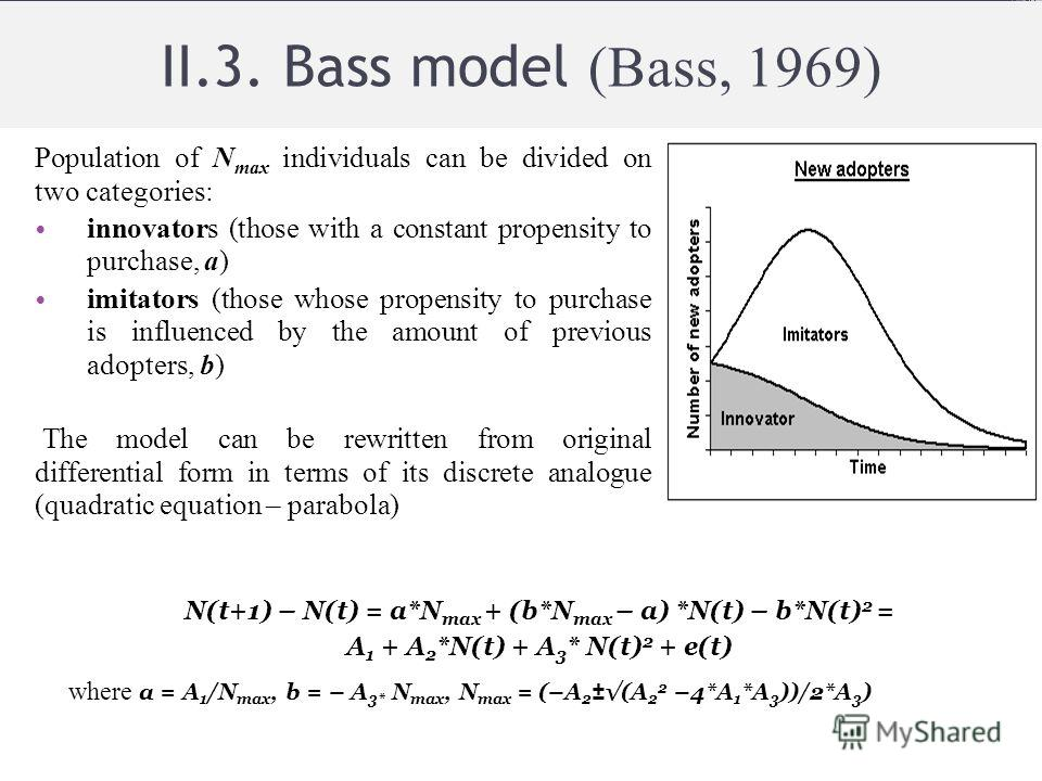 II.3. Bass model (Bass, 1969) Population of N max individuals can be divided on two categories: innovators (those with a constant propensity to purchase, a) imitators (those whose propensity to purchase is influenced by the amount of previous adopter