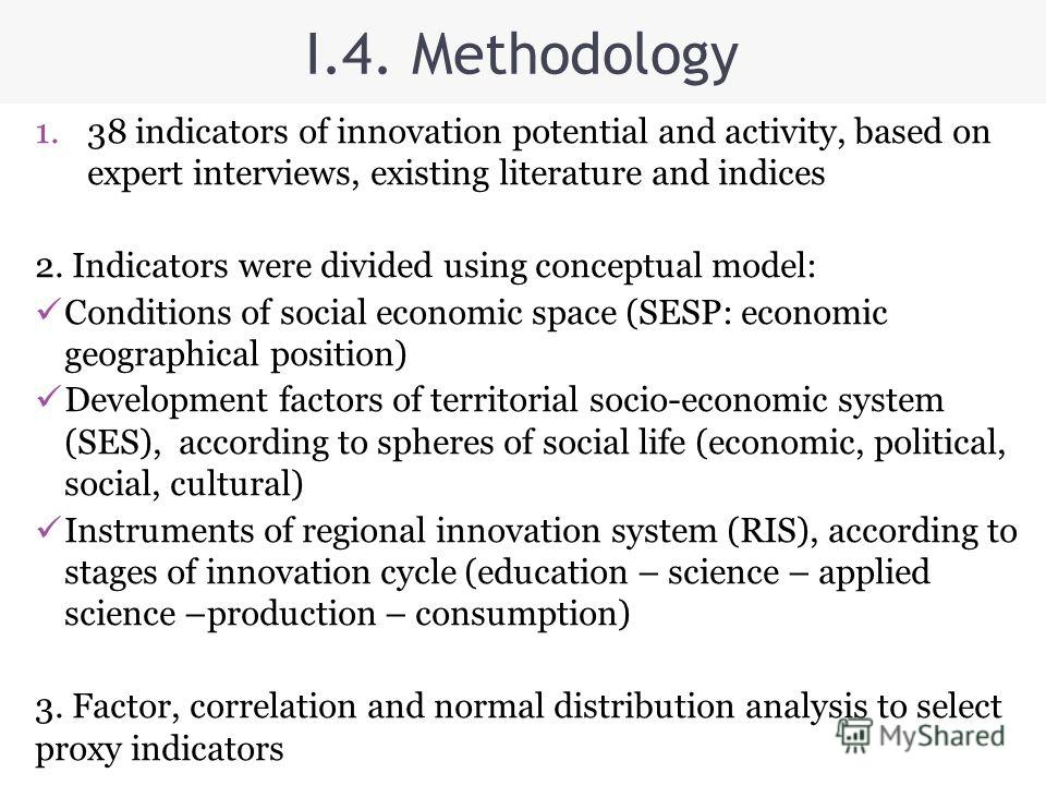 I.4. Methodology 1.38 indicators of innovation potential and activity, based on expert interviews, existing literature and indices 2. Indicators were divided using conceptual model: Conditions of social economic space (SESP: economic geographical pos