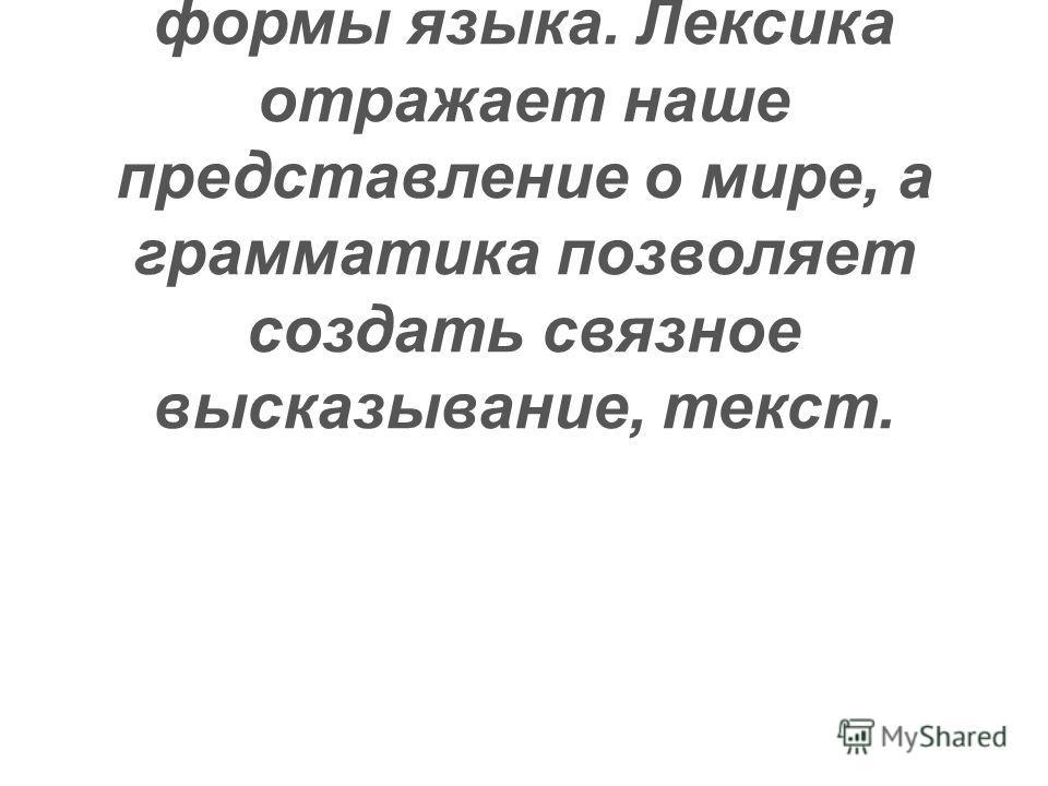 Г. Степанов, на мой взгляд, говорит о единстве содержания и формы языка. Лексика отражает наше представление о мире, а грамматика позволяет создать связное высказывание, текст.