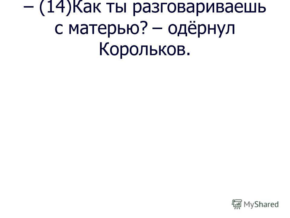 – (14)Как ты разговариваешь с матерью? – одёрнул Корольков.