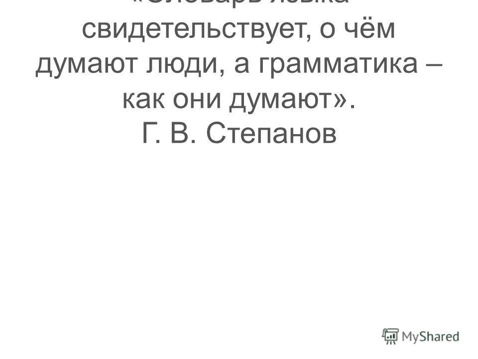 Тест 30 «Словарь языка свидетельствует, о чём думают люди, а грамматика – как они думают». Г. В. Степанов