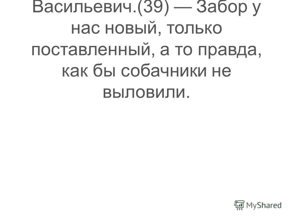 (38) Пусть живёт у меня, предложил Фёдор Васильевич.(39) Забор у нас новый, только поставленный, а то правда, как бы собачники не выловили.