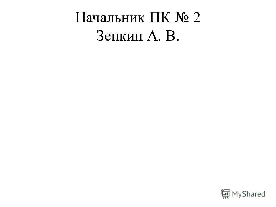 Начальник ПК 2 Зенкин А. В.