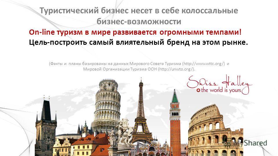Туристический бизнес несет в себе колоссальные бизнес-возможности On-line туризм в мире развивается огромными темпами! Цель-построить самый влиятельный бренд на этом рынке. (Факты и планы базированы на данных Мирового Совета Туризма (http://www.wttc.