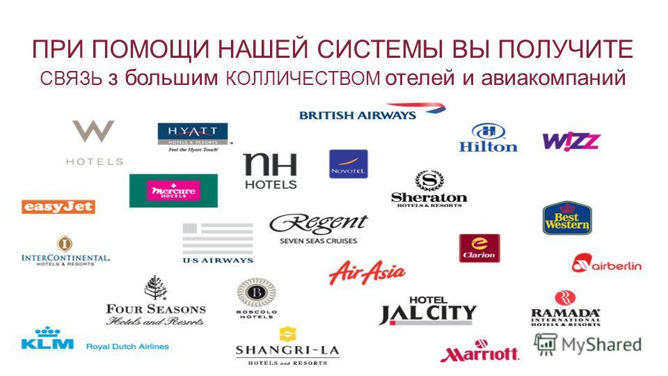 ПРИ ПОМОЩИ НАШЕЙ СИСТЕМЫ ВЫ ПОЛУЧИТЕ СВЯЗЬ з большим КОЛЛИЧЕСТВОМ отелей и авиакомпаний