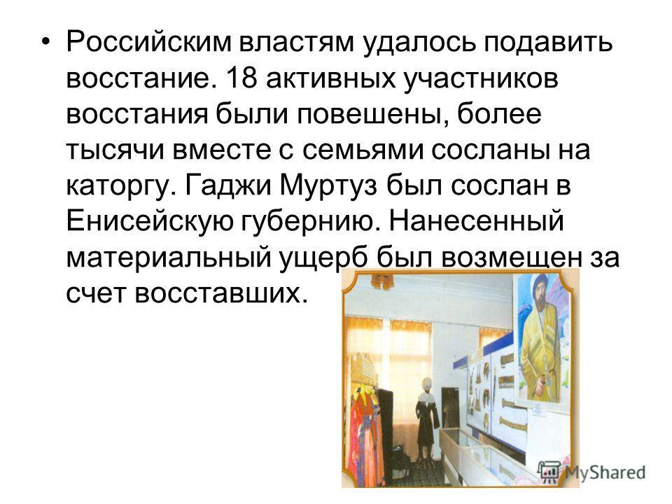 Российским властям удалось подавить восстание. 18 активных участников восстания были повешены, более тысячи вместе с семьями сосланы на каторгу. Гаджи Муртуз был сослан в Енисейскую губернию. Нанесенный материальный ущерб был возмещен за счет восстав