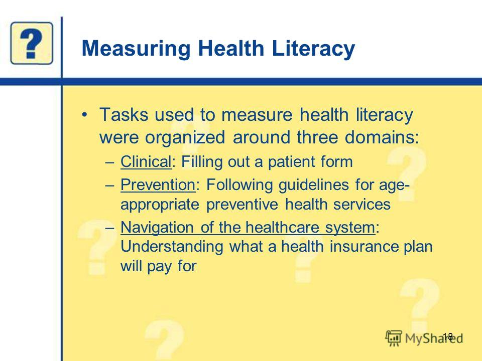 Measuring Health Literacy Tasks used to measure health literacy were organized around three domains: –Clinical: Filling out a patient form –Prevention: Following guidelines for age- appropriate preventive health services –Navigation of the healthcare