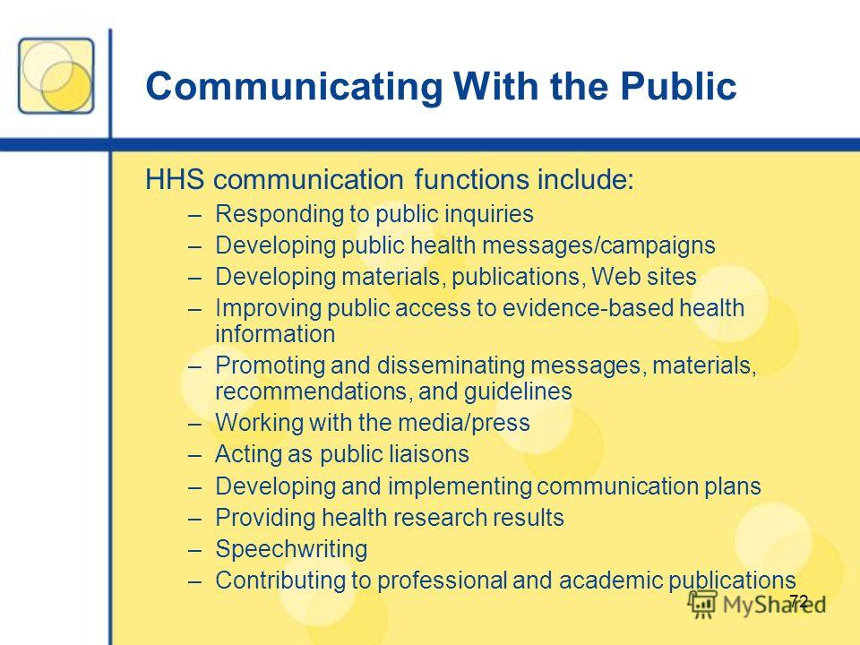 72 Communicating With the Public HHS communication functions include: –Responding to public inquiries –Developing public health messages/campaigns –Developing materials, publications, Web sites –Improving public access to evidence-based health inform