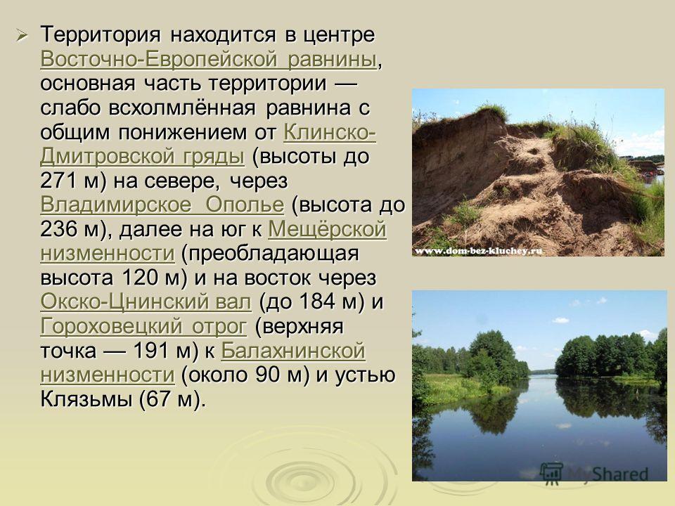 Территория находится в центре Восточно-Европейской равнины, основная часть территории слабо всхолмлённая равнина с общим понижением от Клинско- Дмитровской гряды (высоты до 271 м) на севере, через Владимирское Ополье (высота до 236 м), далее на юг к