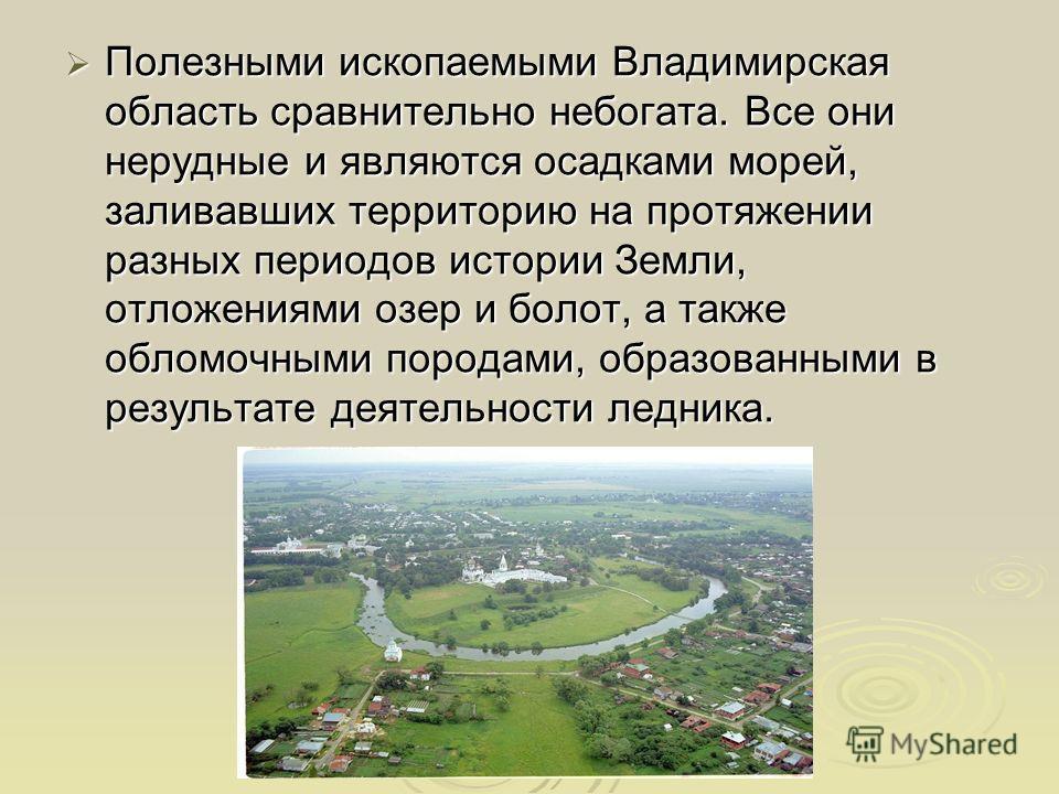 Полезными ископаемыми Владимирская область сравнительно небогата. Все они нерудные и являются осадками морей, заливавших территорию на протяжении разных периодов истории Земли, отложениями озер и болот, а также обломочными породами, образованными в р
