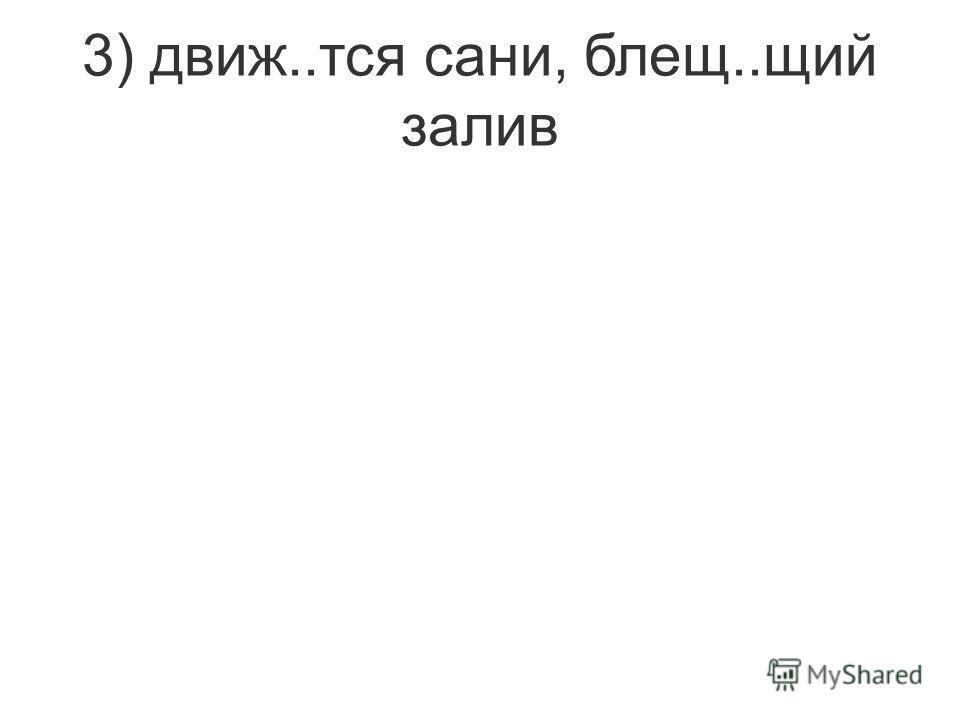 3) движ..тся сани, блещ..щий залив