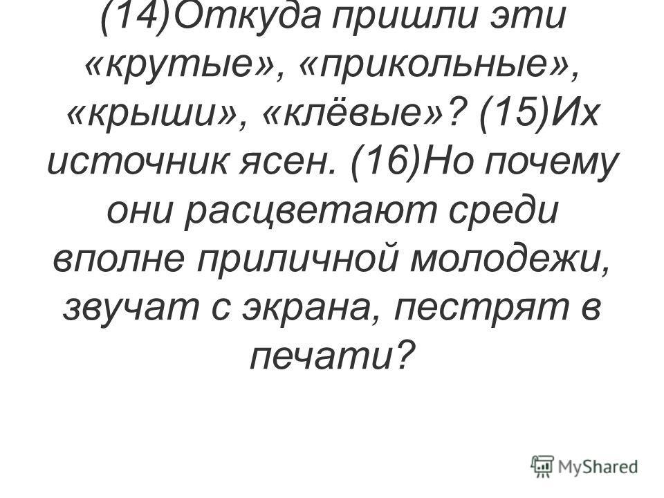 (13)Ни в коем случае не стоит закрывать глаза на то, что, кроме иноязычных слов, нас захлёстывает и уголовная лексика. (14)Откуда пришли эти «крутые», «прикольные», «крыши», «клёвые»? (15)Их источник ясен. (16)Но почему они расцветают среди вполне пр