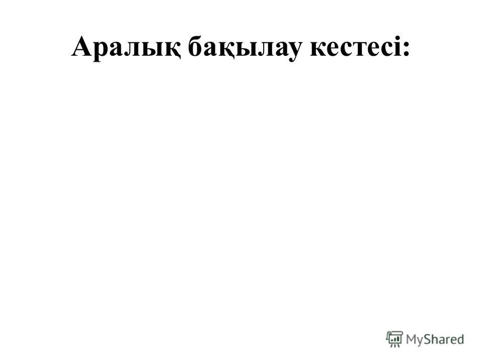 Аралық бақылау кестесі: