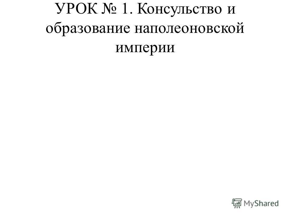 УРОК 1. Консульство и образование наполеоновской империи