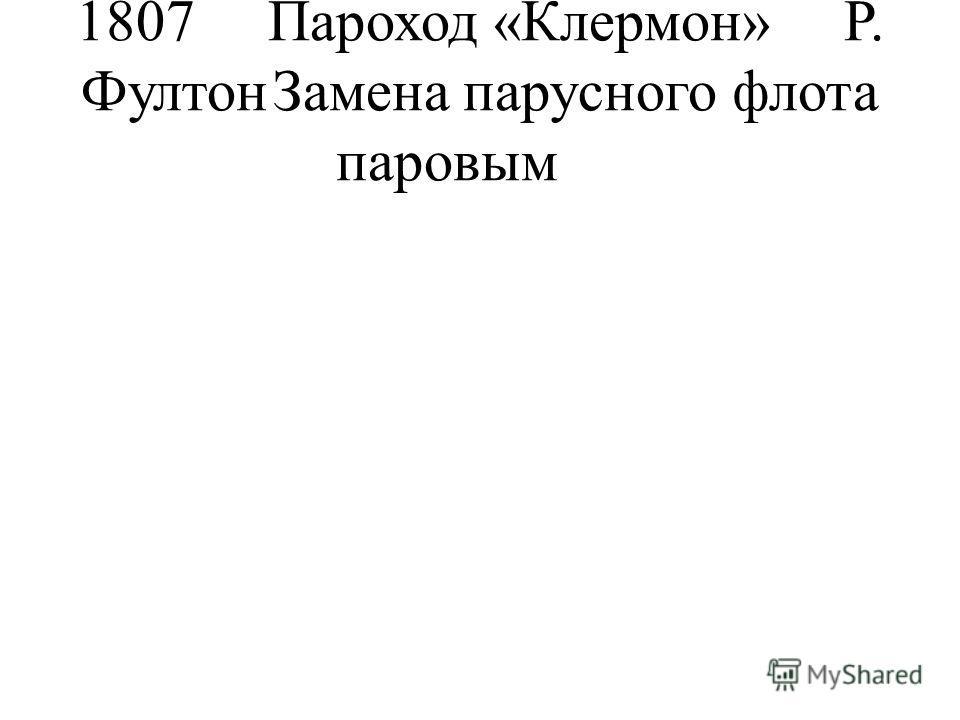 1807Пароход «Клермон»Р. ФултонЗамена парусного флота паровым