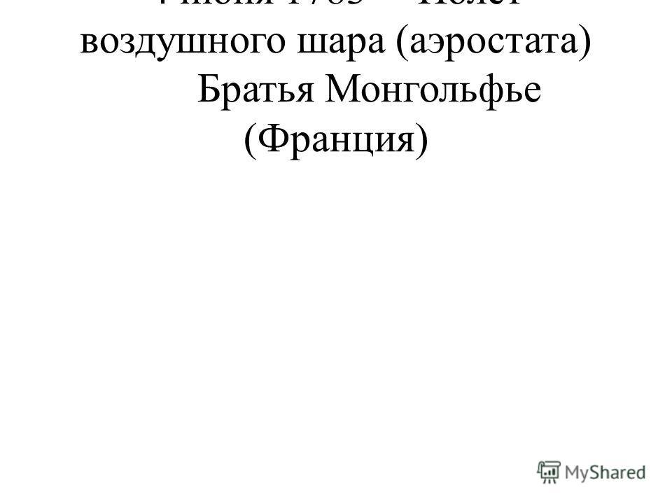 4 июня 1783Полет воздушного шара (аэростата) Братья Монгольфье (Франция)
