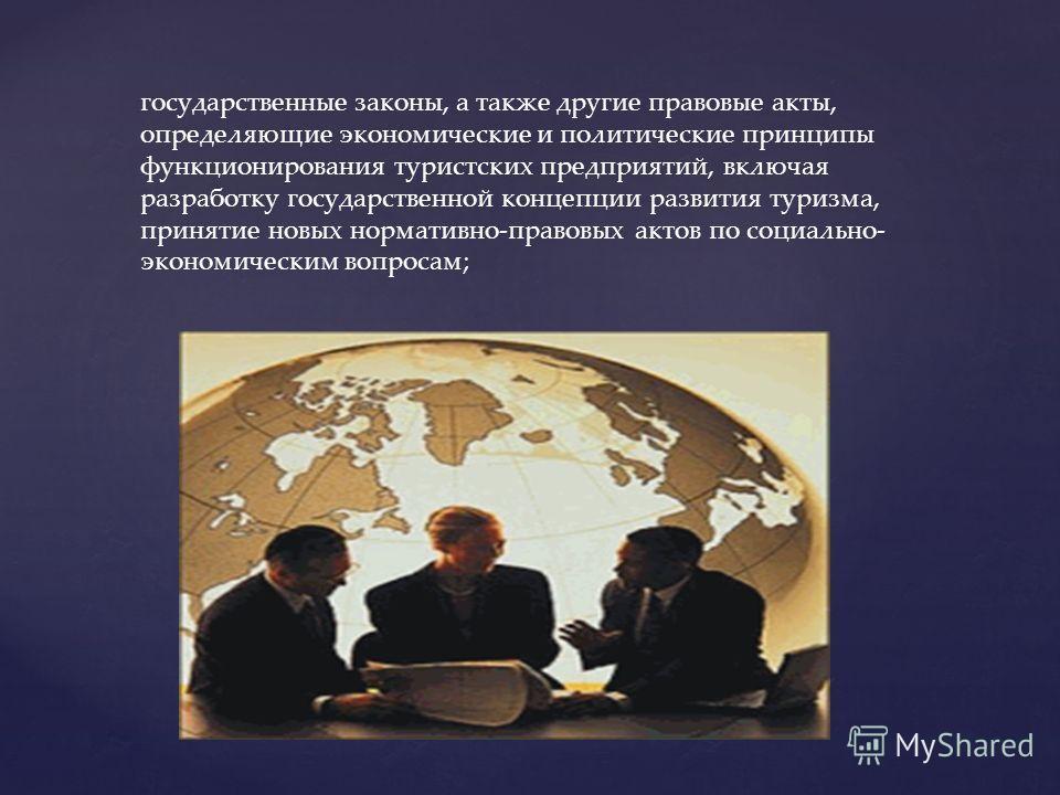 государственные законы, а также другие правовые акты, определяющие экономические и политические принципы функционирования туристских предприятий, включая разработку государственной концепции развития туризма, принятие новых нормативно-правовых актов