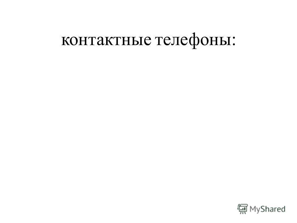 контактные телефоны: