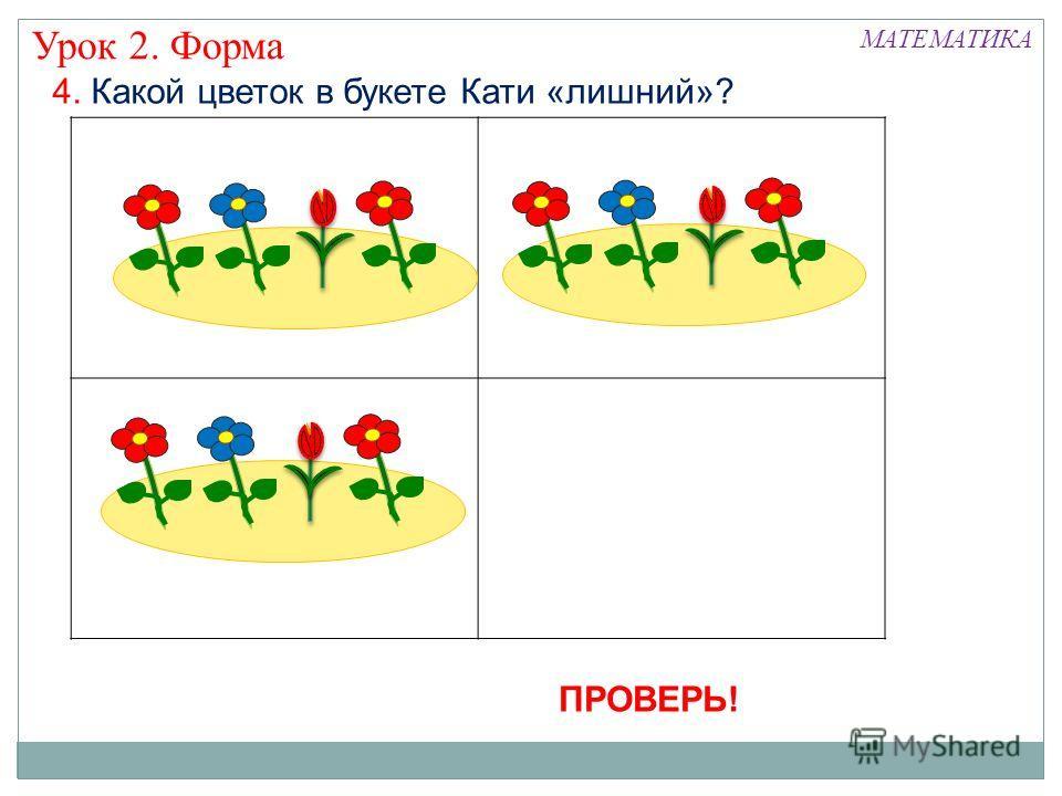 4. Какой цветок в букете Кати «лишний»? Урок 2. Форма МАТЕМАТИКА ПРОВЕРЬ!