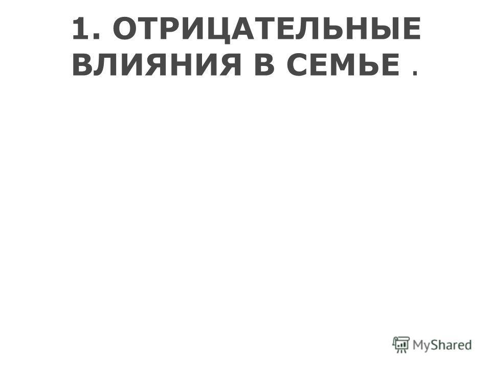 1. ОТРИЦАТЕЛЬНЫЕ ВЛИЯНИЯ В СЕМЬЕ.
